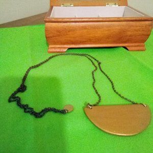 Antiqued Gold Tone Necklace with Wooden Pendant